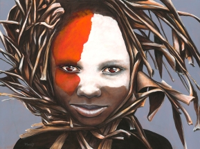 portrait of an Omoro Youth in an Elephant Grass Wreath
