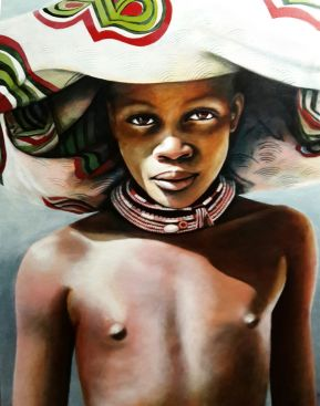 Portrait of a Dasanach Youth with brightly coloured cloth headress