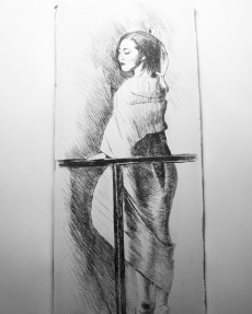 """""""Madame Butterfly"""" drypoint etching on calcite"""