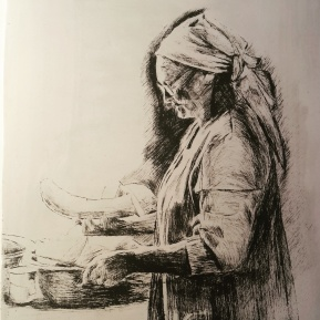 Tannie Cutting Melon, drypoint etching on calcite, 13.5x16cm