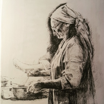 """""""Tannie Cutting Melon"""" drypoint etching on calcite"""