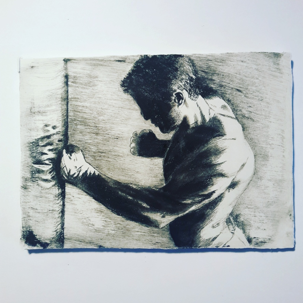 """""""Just Hit the Bag"""" drypoint etching of boxer on calcite plate"""