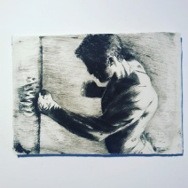 """""""Just Hit the Bag"""" drypoint etching on calcite plate"""