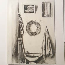 """The Corner of my Brenton Studio"" still-life drypoint etching on calcite"
