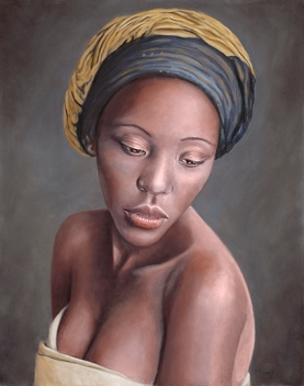 Portrait of beautiful young Malawian woman in blue and gold headscarf