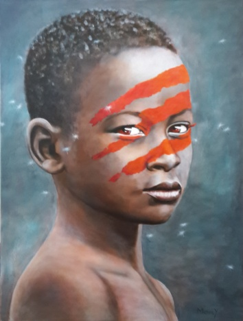 Portrait of Omoro boy with red face paint