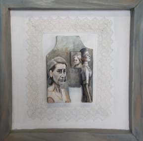 Three Phases - Carved wooden blocks with lace, oil paint and graphite