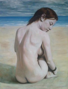 Painting of nude figure on the beach