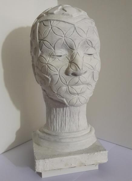 Atlantean Head - white cement 32cm