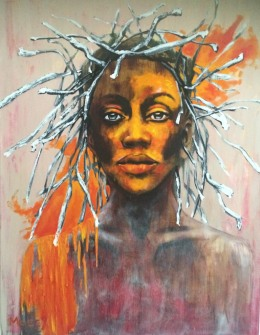 Portrait of a woman with a crown of branches and bright orange paint
