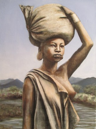 Girl at the Omo River Bank 30 x 41 oil and raw pigment