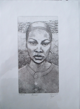 """Sunette"" hardground etching of a young woman on paper"