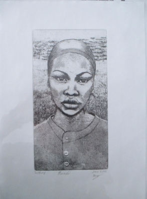 """""""Sunette"""" hardground etching of a young woman on paper"""
