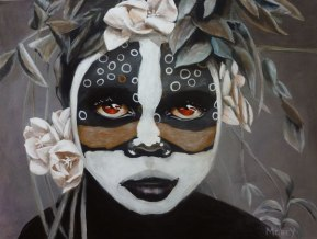 Omo Child with Yucca Flowers - Oil on Canvas 61cm x 75cm