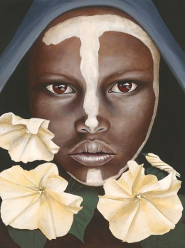 Portrait of an Omoro Youth with moonflowers, face-paint and blue scarf