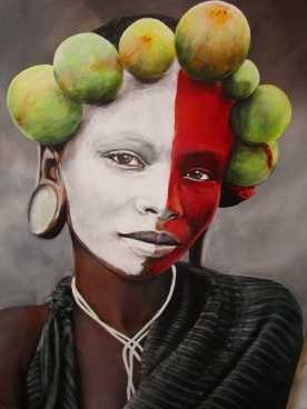 Portrait of an Omoro girl with a fig crown and red and white face paint