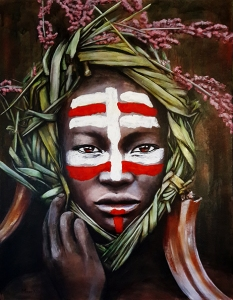 Portrait of an Omoro girl with pink flowers, reeds and elephant tusks