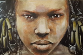 Woman with Brass Rings - oil on canvas 91x60