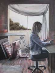 Anna in the Studio - - 90x120 acrylic on canvas