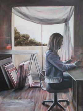 Anna in the Studio - - 90x120 acrylic on canvas