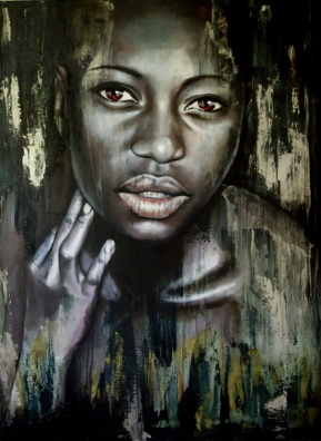 Portrait of beautiful African woman with gold brushstrokes
