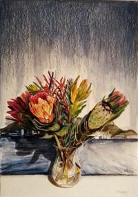 Proteas against a Landscape