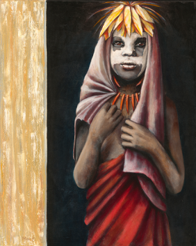Portrait of a child standing in a doorway with a red cloak and white face paint