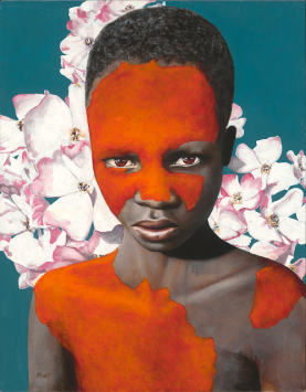 Portrait of a boy with red paint and old-fashioned roses