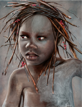 Portrait of a child with red berries in their hair