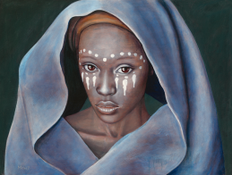Portrait of beautiful Malawian woman draped in blue shawl