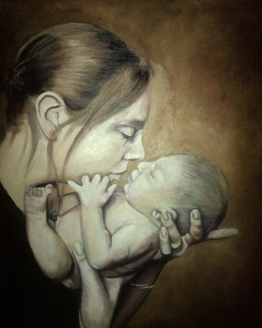Portrait of Mother and newborn child in oil paint