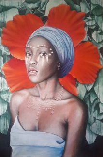 Final details on an acrylic portrait about drought