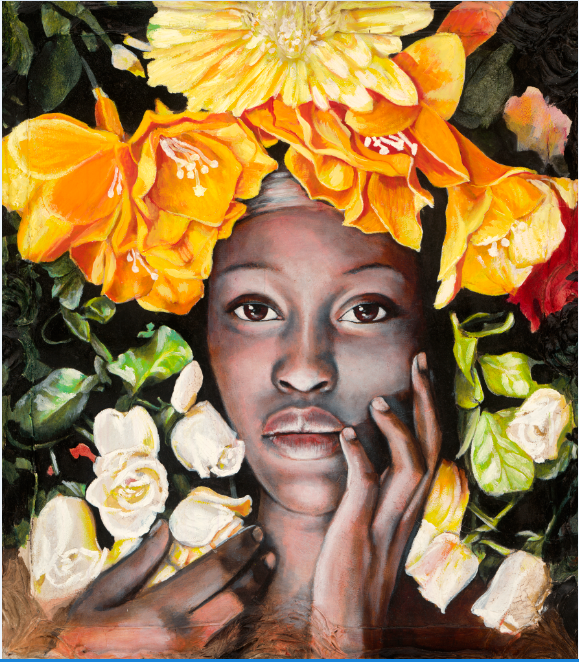 Portrait of beautiful Malawian woman with bouquet of bright flowers