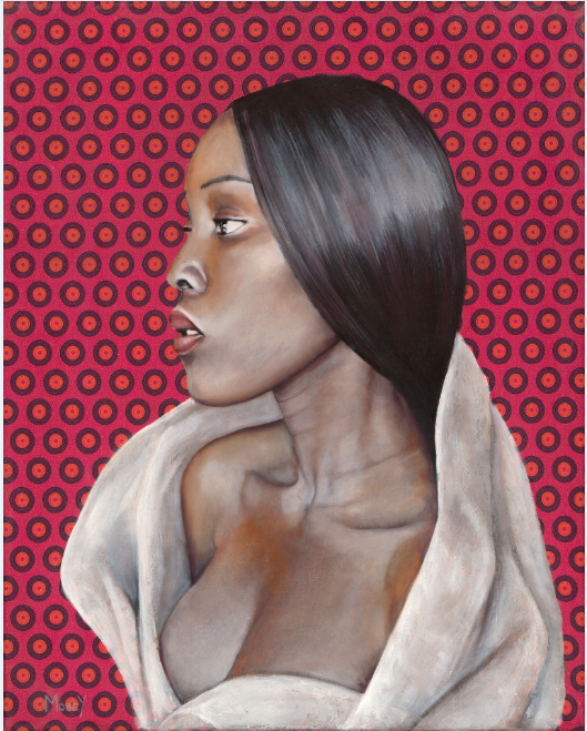 Portrait of beautiful Malawian Woman on traditional African textile, oil on canvas