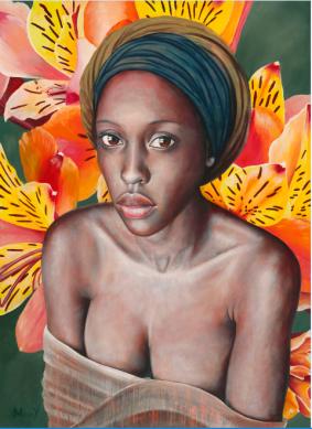 Portrait of beautiful Malawian woman with bright orange lilies